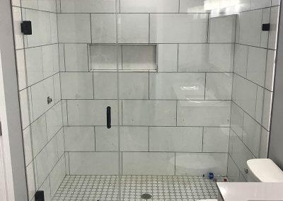 Standing Shower with frameless glass door