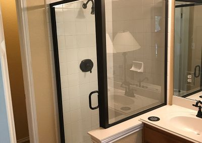 Standing Shower with framed glass door